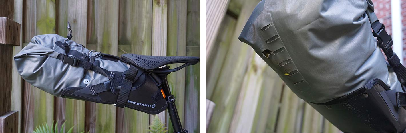 blackburn outpost saddle bag mounted to a dropper seatpost with specific hardware