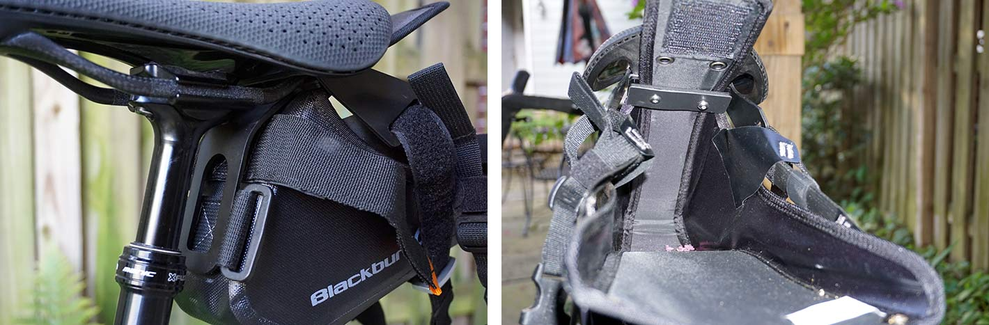blackburn outpost saddle bag mounting hardware for using a seat bag on a dropper seatpost