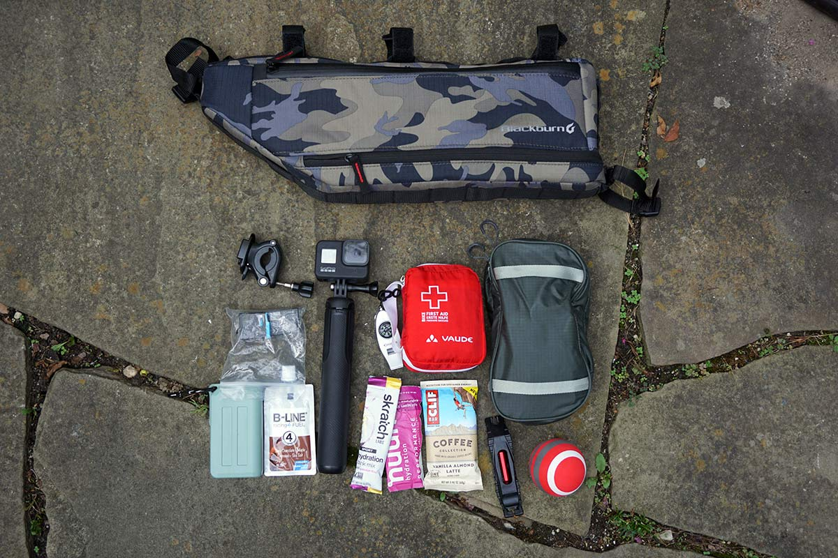 all the things that will fit inside a blackburn outpost frame bag