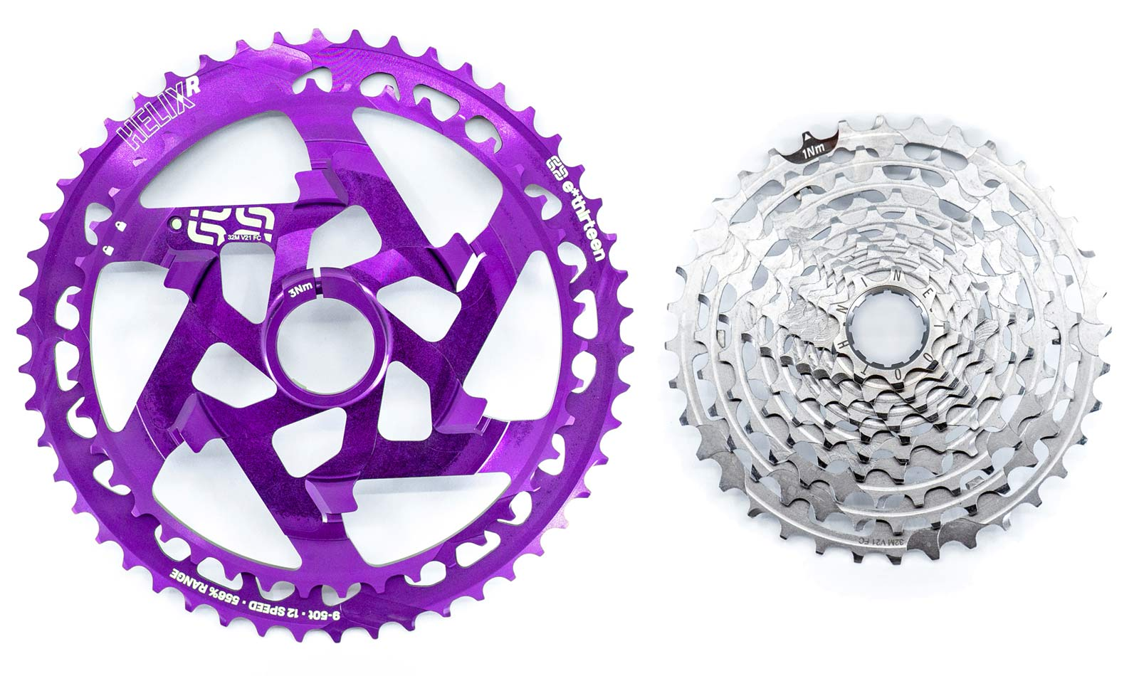 e*thirteen Helix R wide-range lightweight cassette, e13 12-speed or 11-speed,replaceable cog clusters