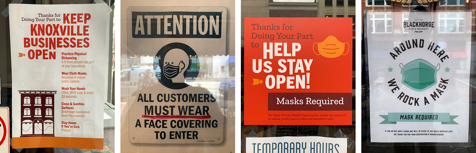 four different mask requirement signs for restaurants and retailers in downtown knoxville during COVID