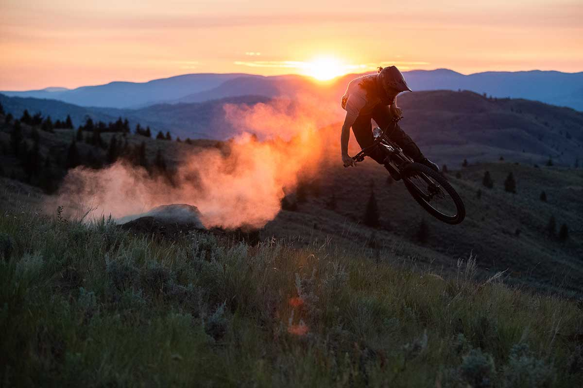 mtb rider whips new stumpy trail bike sunset dust roost