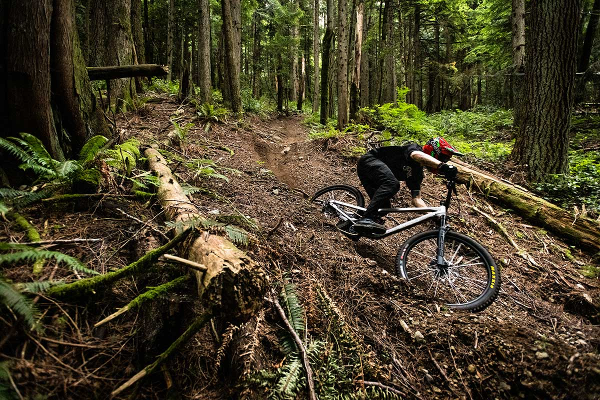 mountain biker riding noroco shore a1 leaning aggressively cornering hard