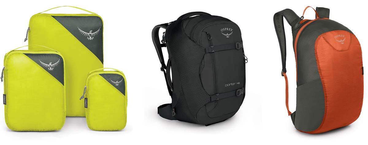 prime day deals on osprey travel duffel backpack and packing cubes