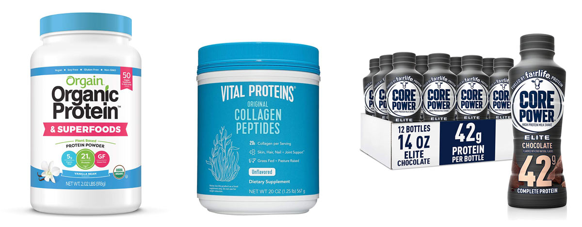 prime day sales for orgain vegan protein powder and collagen powders and core power whey protein drink