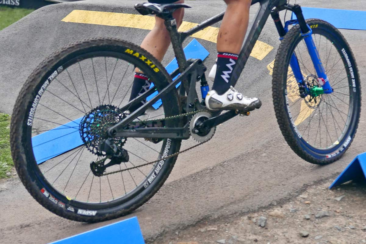 prototype Ghost Lector FS XC bike, full suspension cross-country mountain bike, Nove Mesto World Cup, rear detail