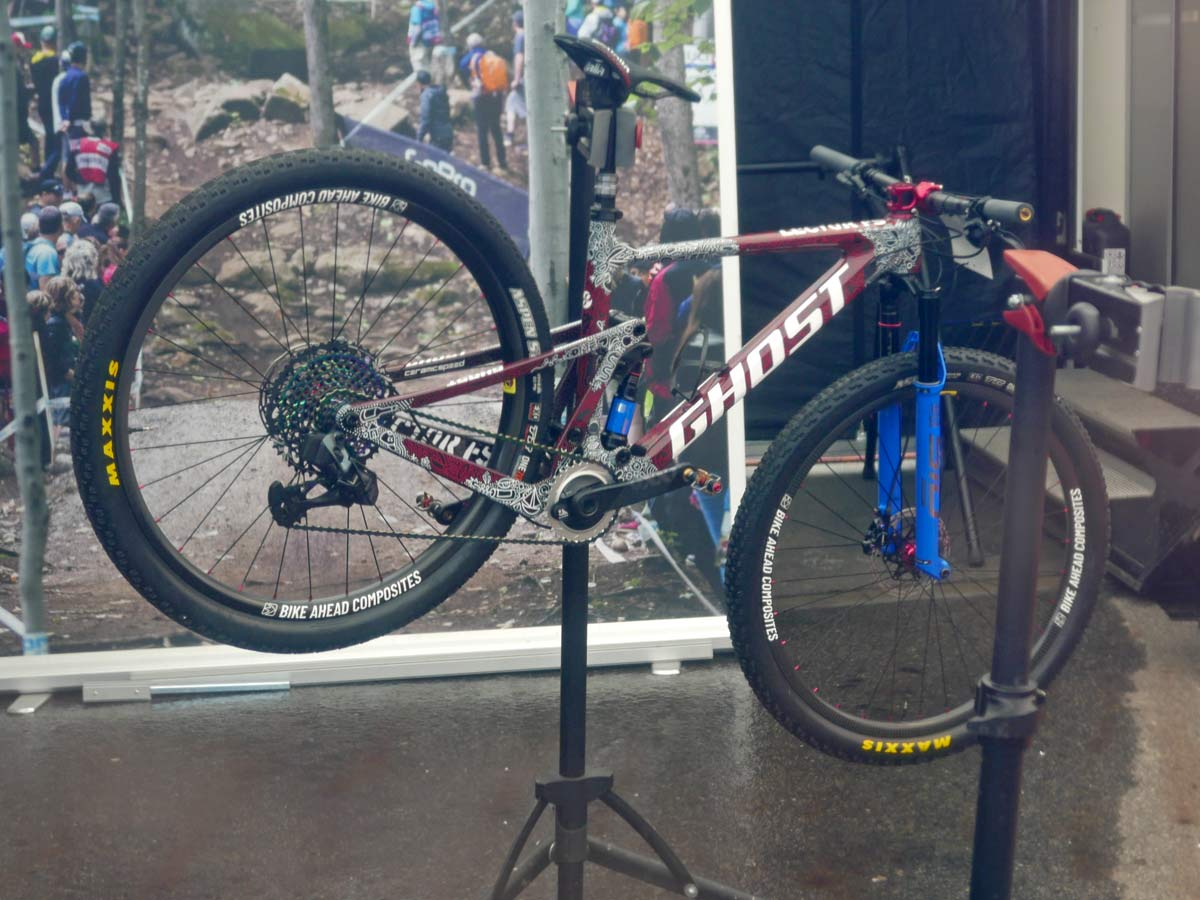 prototype Ghost Lector FS XC bike, full suspension cross-country mountain bike, Nove Mesto World Cup, Anne Terpstrateam tent