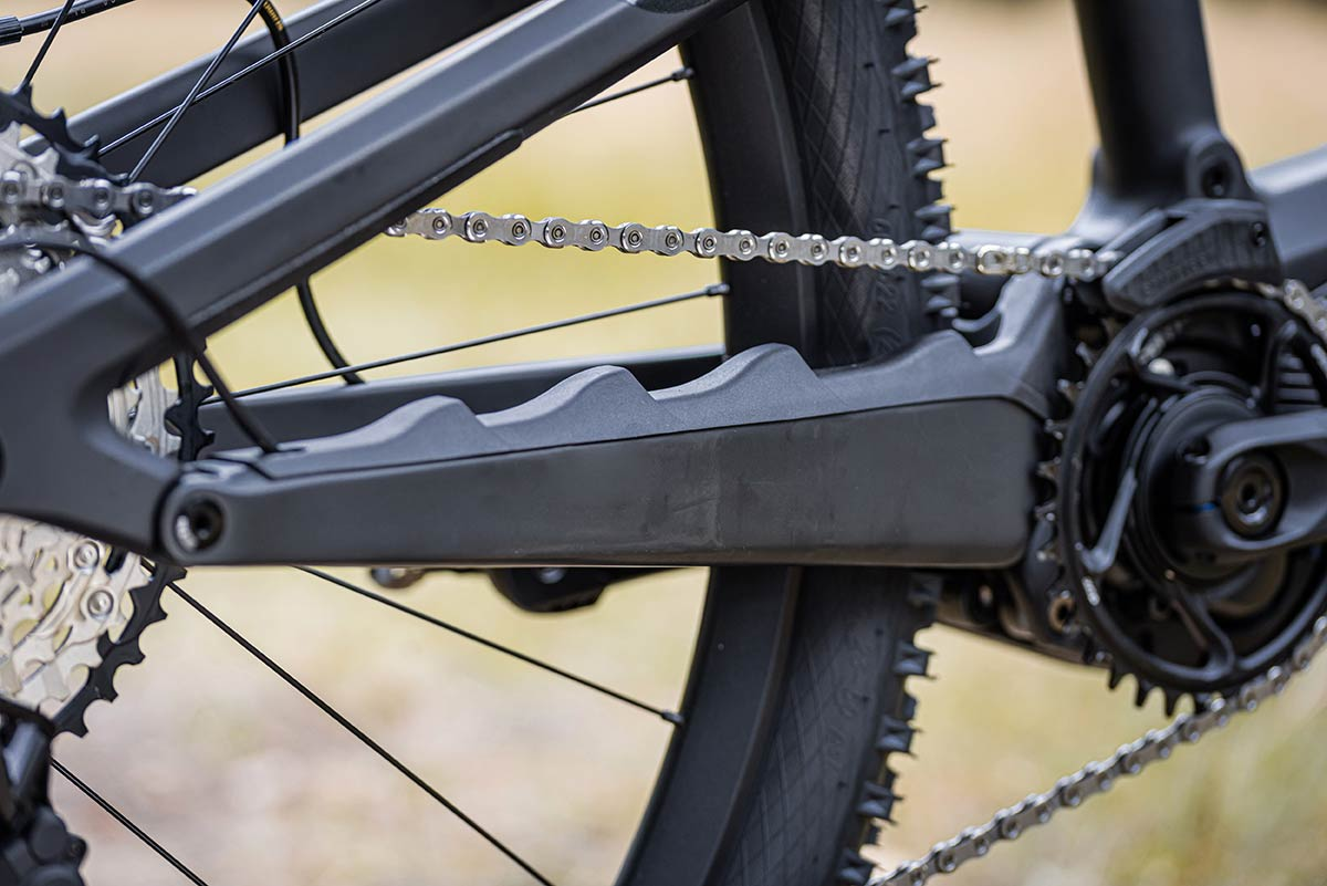 rotwild e-mtb chainstay protector molded rubber quietens the ride