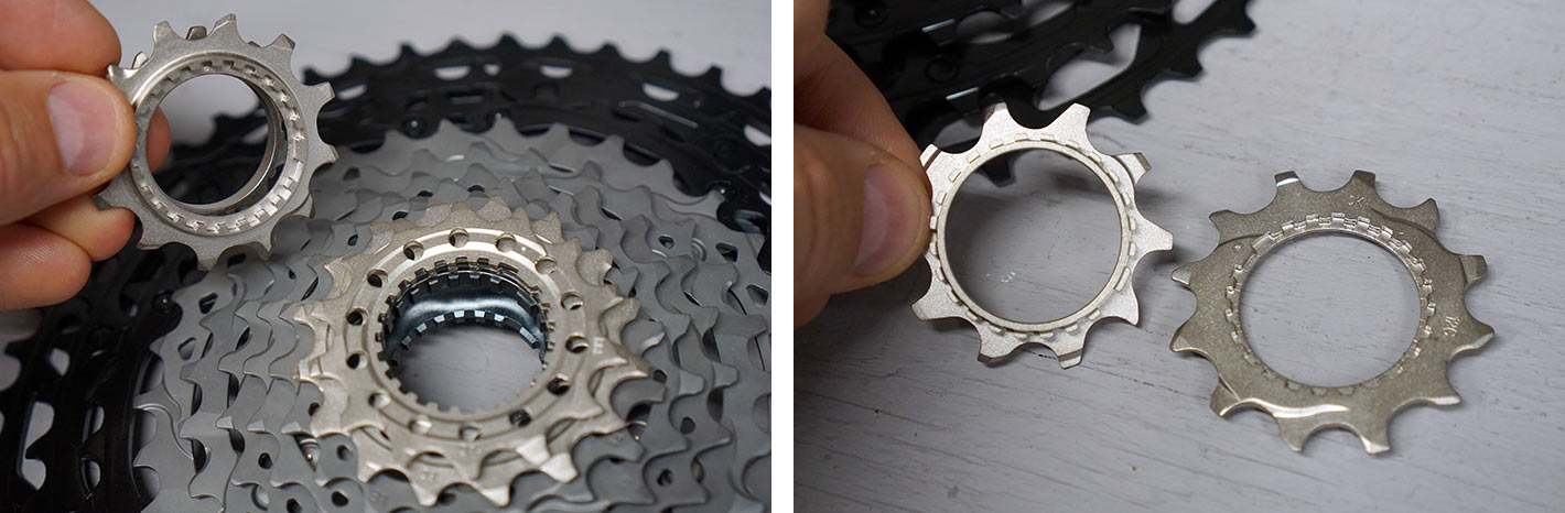 close up showing how smallest two cogs on shimano 12 speed mountain bike cassettes connect on the microspline freehub body