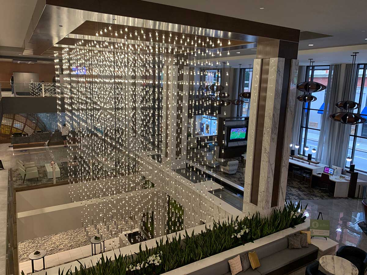 inside the embassy suites lobby in downtown knoxville