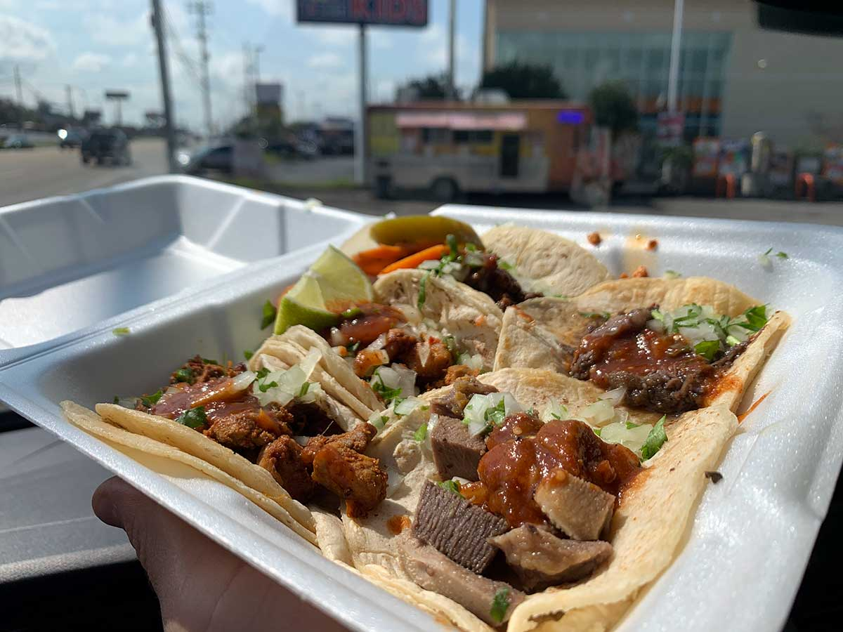 street tacos from taqueria la herradura food truck in knoxville tennessee