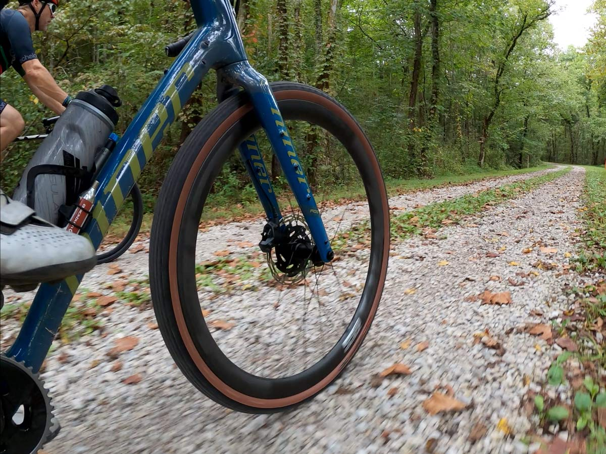gravel riding low point of view showing bikes on north boundary greenway in knoxville