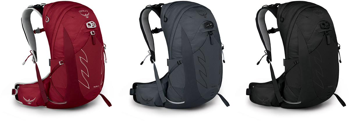 mens osprey pack for hiking biking cycling available red grey black colorway options talon 22