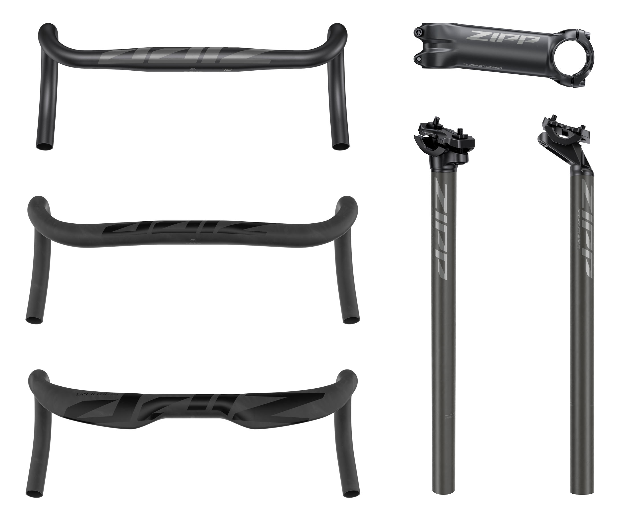 2021 zipp service course sl carbon handlebars and mixed material seatposts with alloy stems