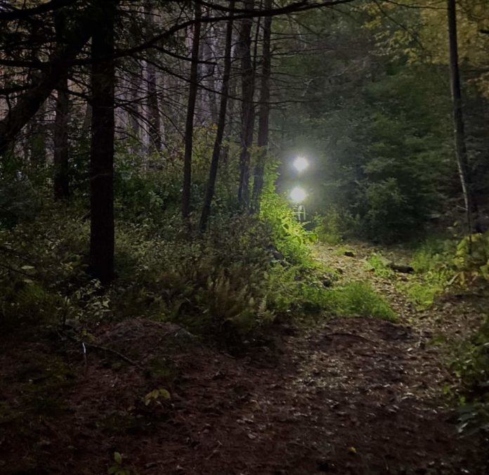 bikerumor pic of the day Boxford State Forest, Massachusetts, a cyclist appears on a trail in the forest with only bike lights showing as dusk settles in.
