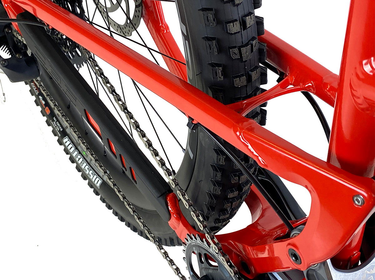 2021 canfield lithium full suspension mountain bike stays closeup showing tire clearance