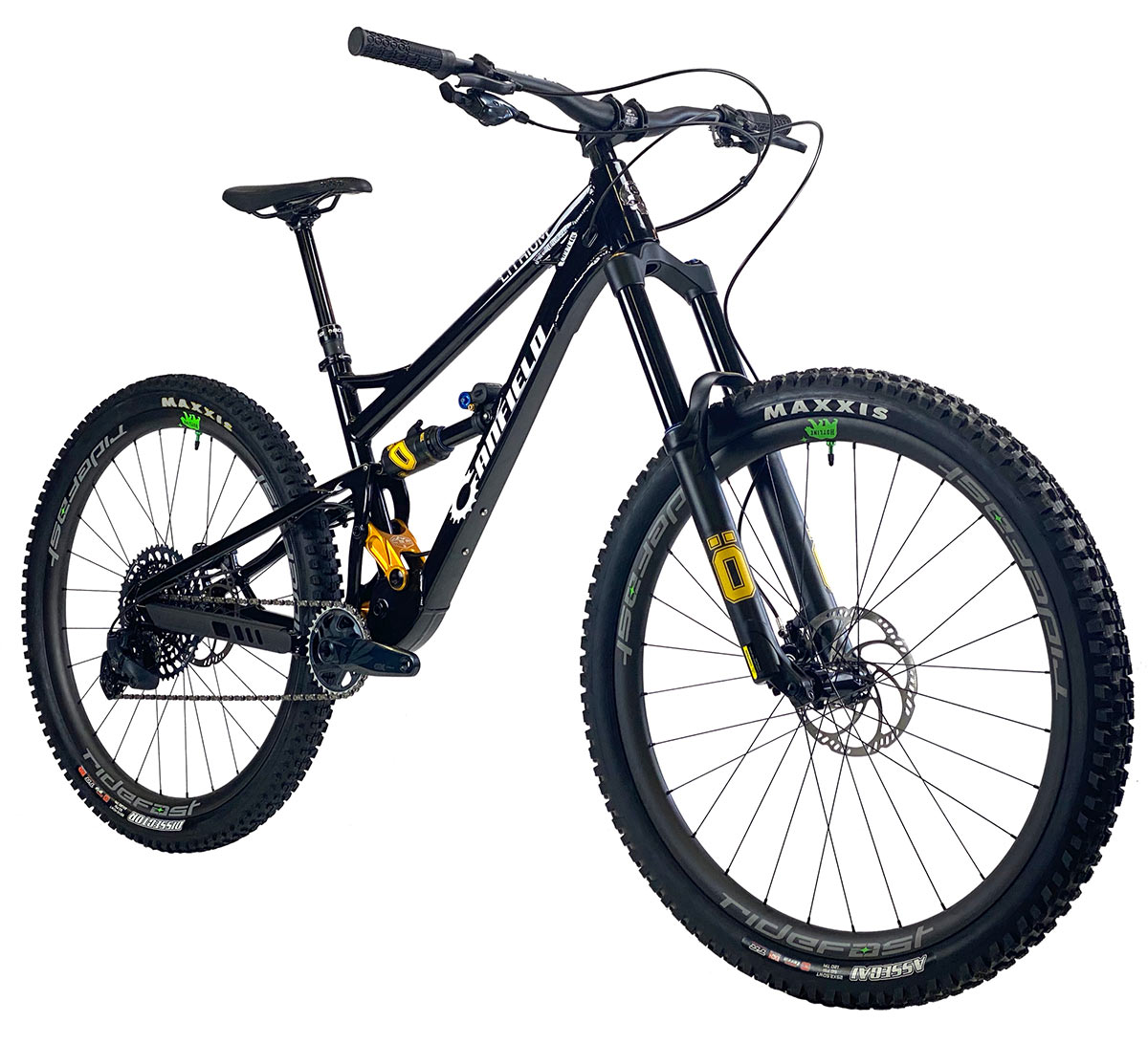 2021 canfield lithium full suspension mountain bike shown at an angle in black