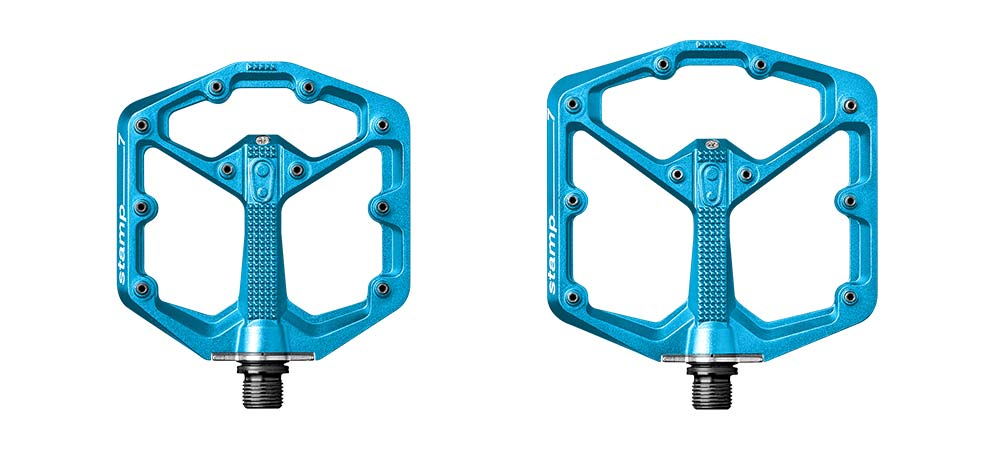 Crankbrothers Stamp 7 platform flat pedals in Electric Blue, small or large
