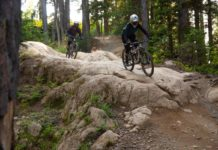 Knolly Chilcotin, riders on rock slab