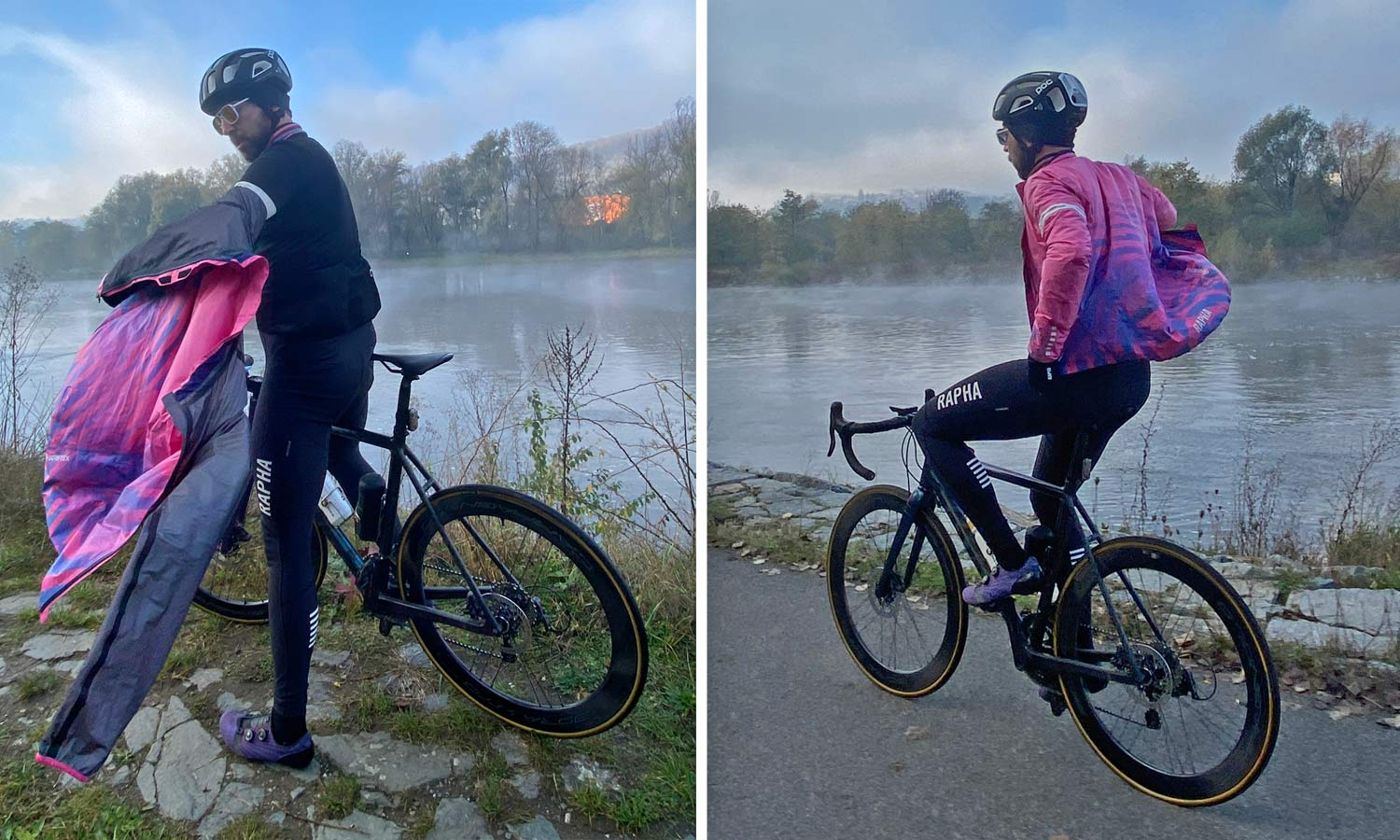 Exclusive Review: Rapha Pro Team Lightweight Gore-Tex Jacket printed in pink Technicolor, extra full color Shakedry visibility,on or off