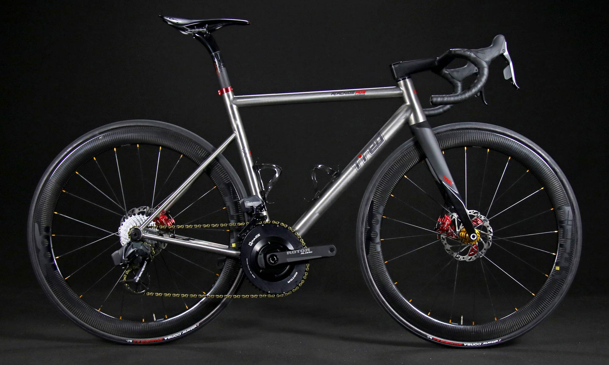 TRed Arcanide A03 Venti to road bike, fully-integrated internal cable routing custom titanium road bike,complete