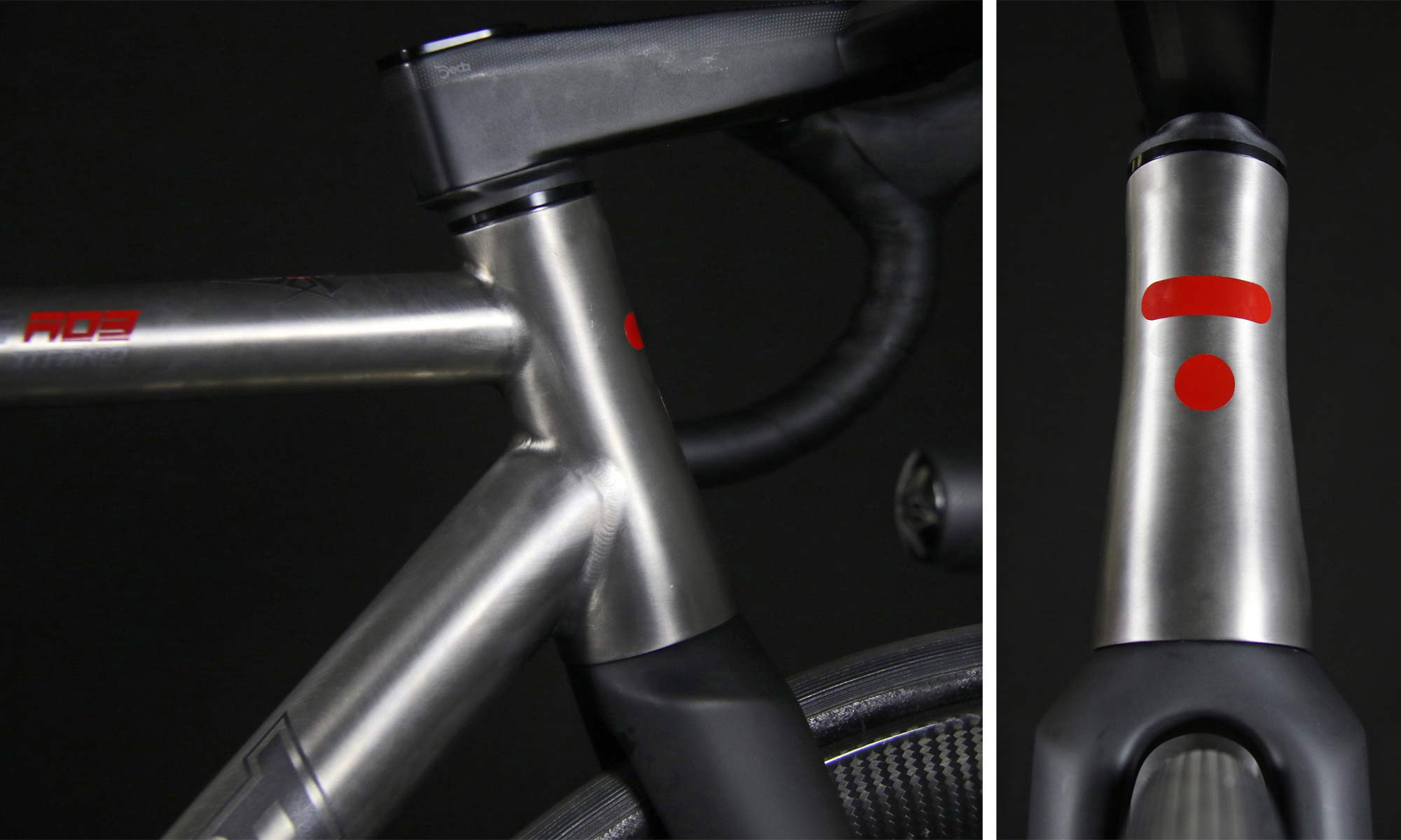 TRed Arcanide A03 Venti to road bike, fully-integrated internal cable routing custom titanium road bike,headtube details