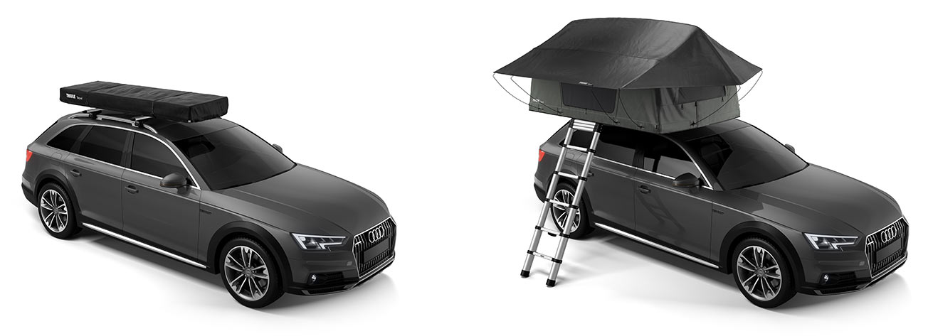 thule tepui vehicle roof tent for two people shown open and closed