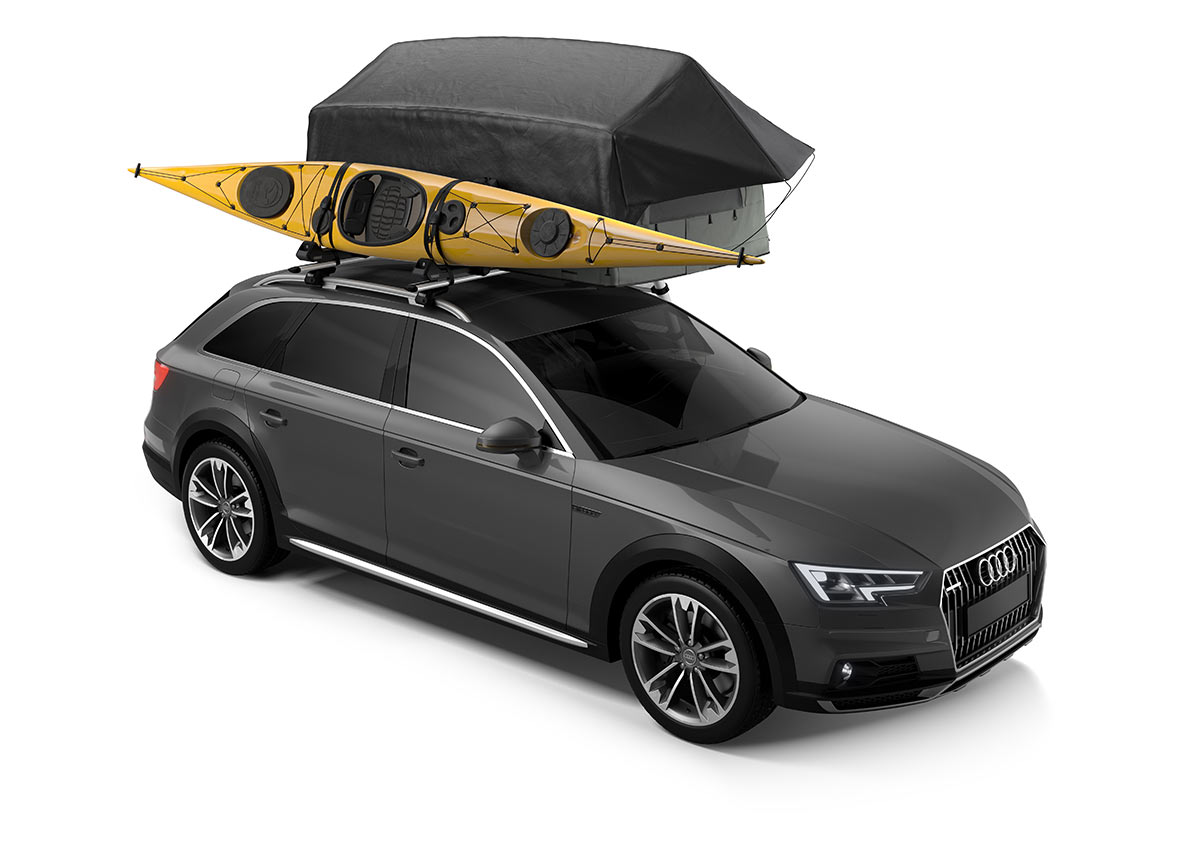 thule tepui vehicle roof tent for two people shown with rainfly attached