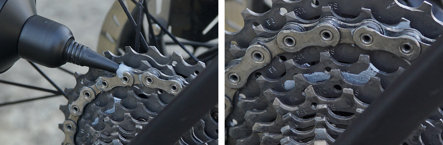 ceramicspeed ufo drip chain coating wax lube application and drying closeup
