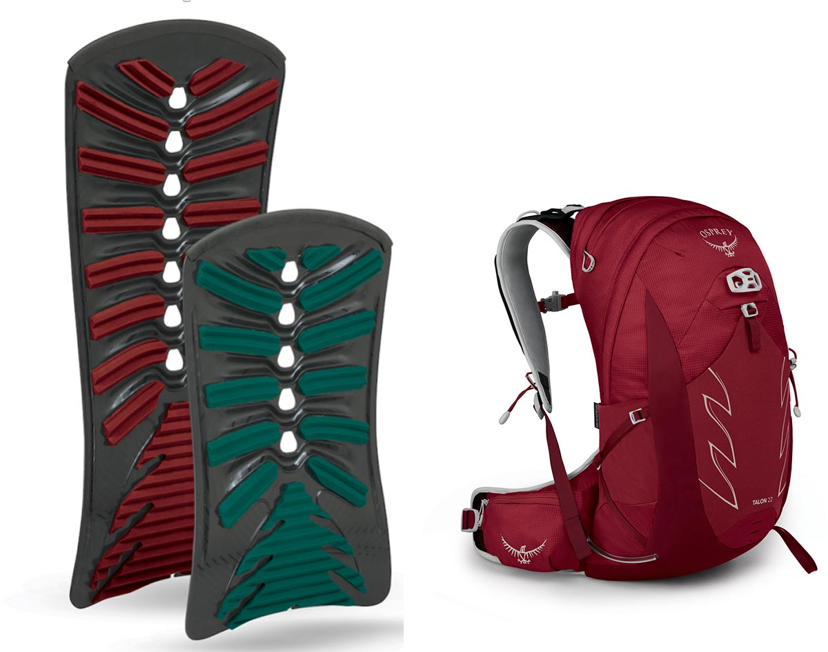 osprey pack airscape back panel injection molded talon 22
