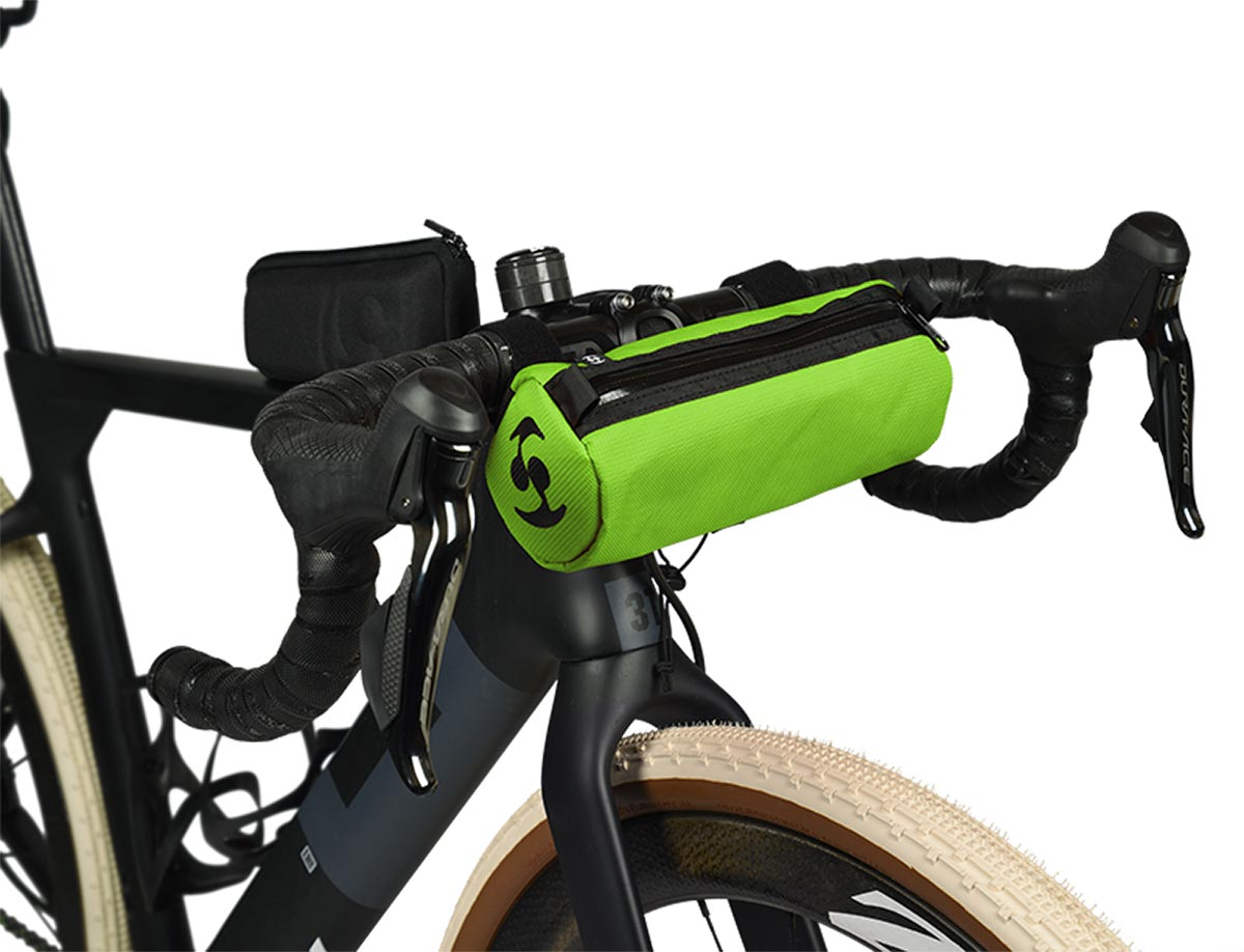 speedsleev diego green handlebar bag gravel bikes