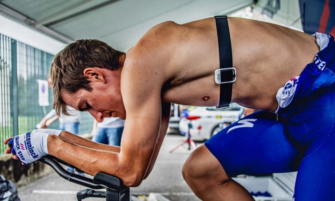 CORE Body Temperature Monitor, non-invasive internal body temp tracking to improve cycling performance, Deceuninck–Quick-Step training photo by Wout Beel