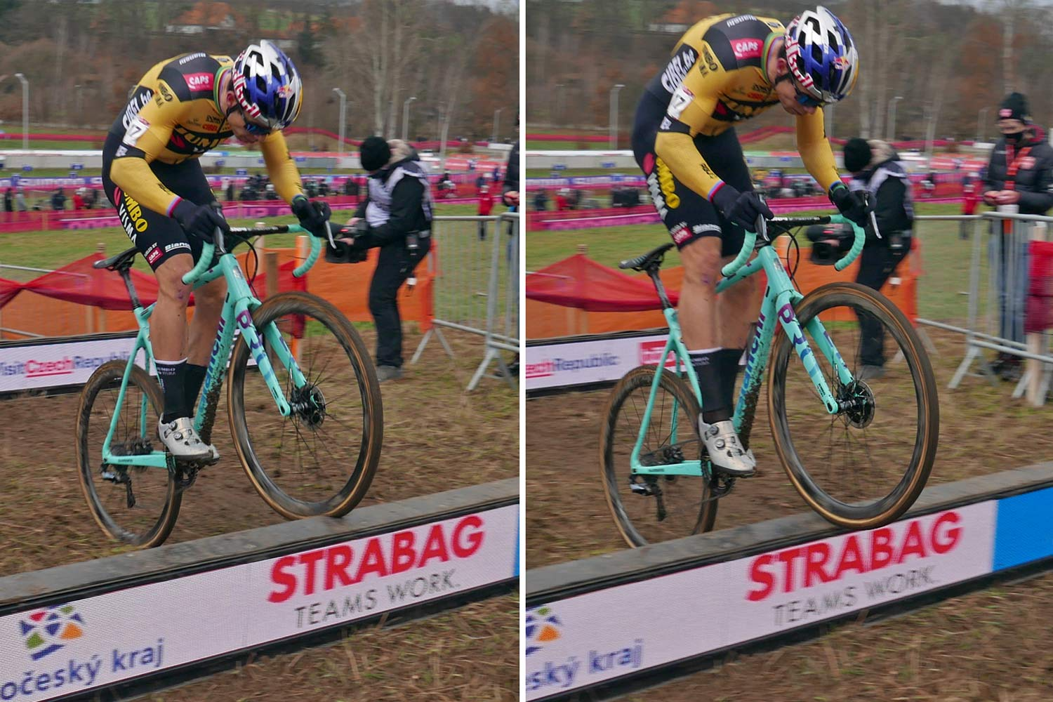 CX Pro Bike Check: Bianchi Zolder Pro carbon cyclocross bike, Wout van Aert at UCI Cyclo-Cross World Cup Tabor,bunny hopping barriers