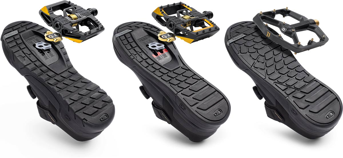 Crankbrothers Shoes Mallet Clipless Mallet Stamp Flat MTB Shoes paired with respective pedal match system