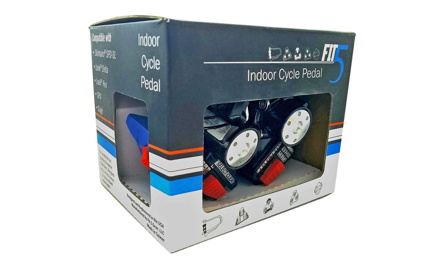 Fit5 universal Indoor Cycle Pedals; Look Delta or Keo, Shimano SPD-SL or SPD, toe-clip compatibility,retail box