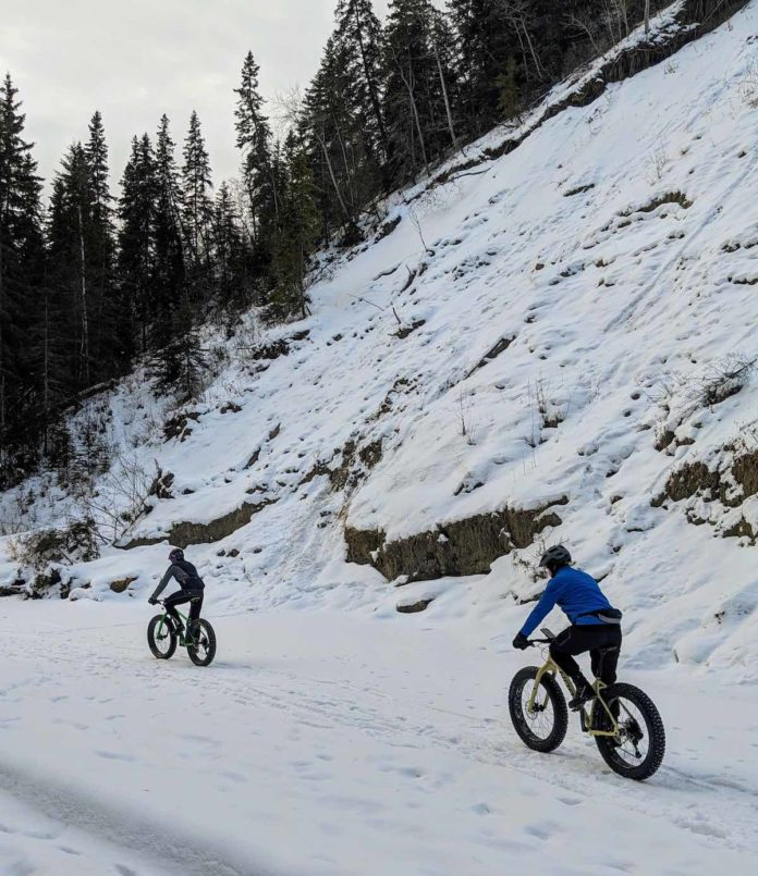 bikerumor pic of the day fat biking cycling on snow covered trail in edmontons river vally parks alberta canada