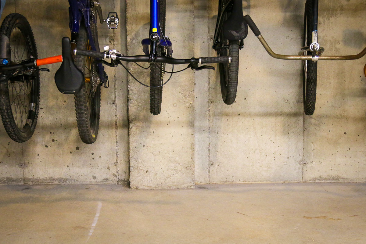 wheel base considerations with bicycle storage hooks