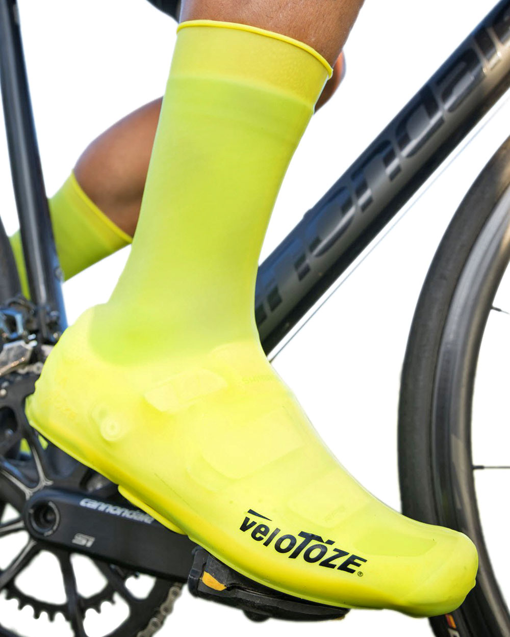 VeloToze Tall Shoe Covers Silicone, easy on and off windproof waterproof synthetic rubber road bike shoe covers with snaps