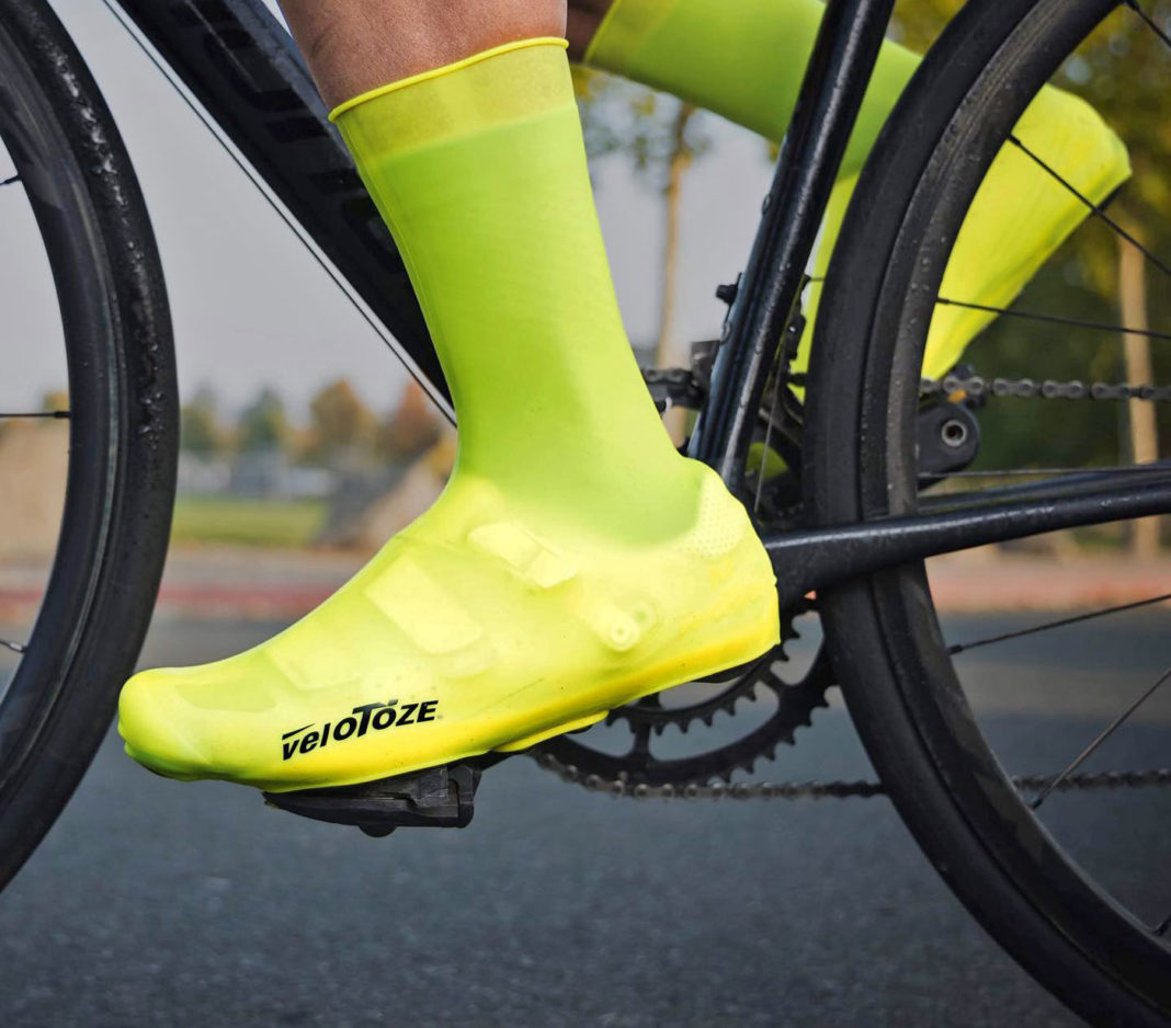 VeloToze Tall Shoe Covers Silicone, easy on and off windproof waterproof synthetic rubber road bike shoe covers with snaps, riding