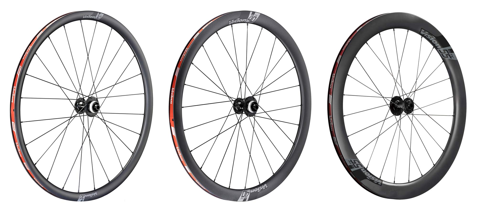 Vision TriMax Carbon 30mm 40mm 55mm deep tubeless Disc wheels