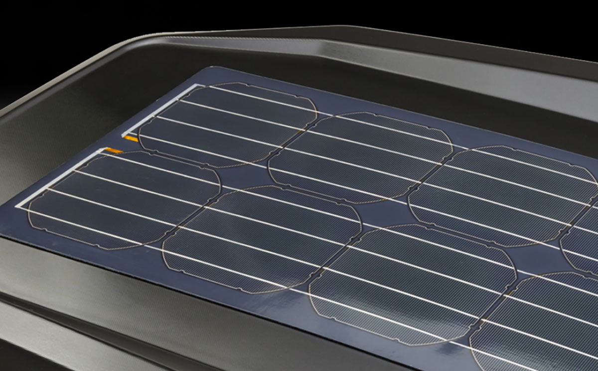 yakima CBX rooftop cargo box with solar panel closeup detail