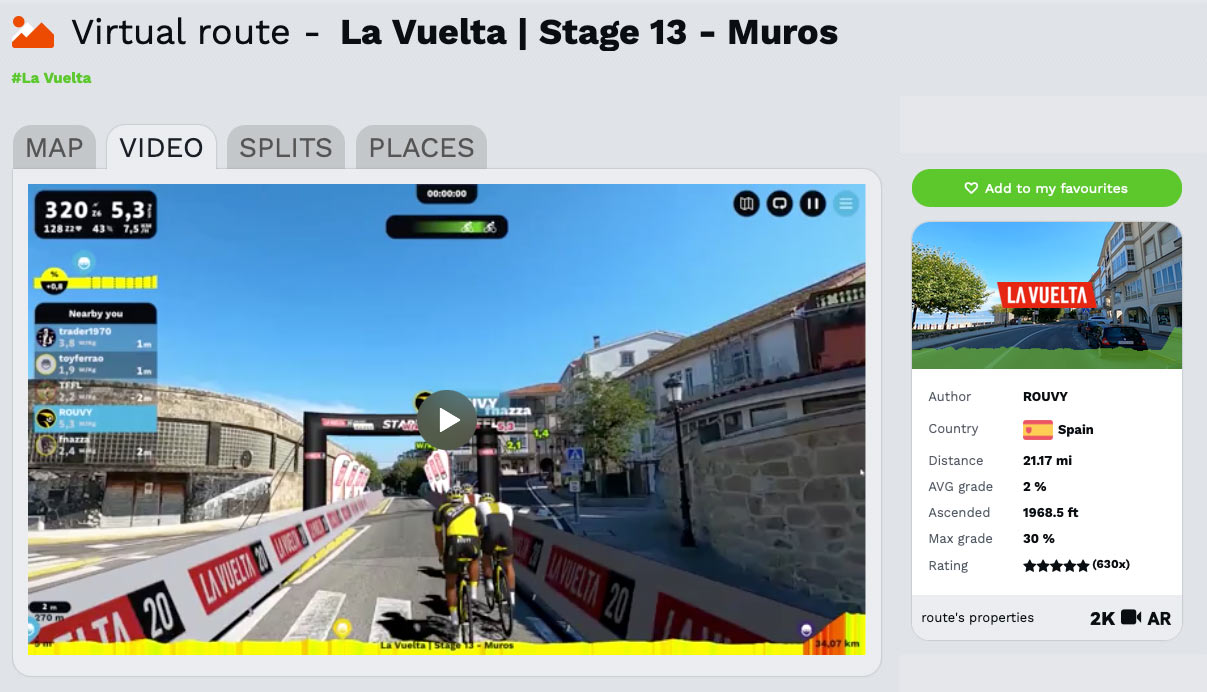 rouvy la vuelta stage 13 time trial virtual indoor cycling race challenge to beat Bikerumor rider and win prizes