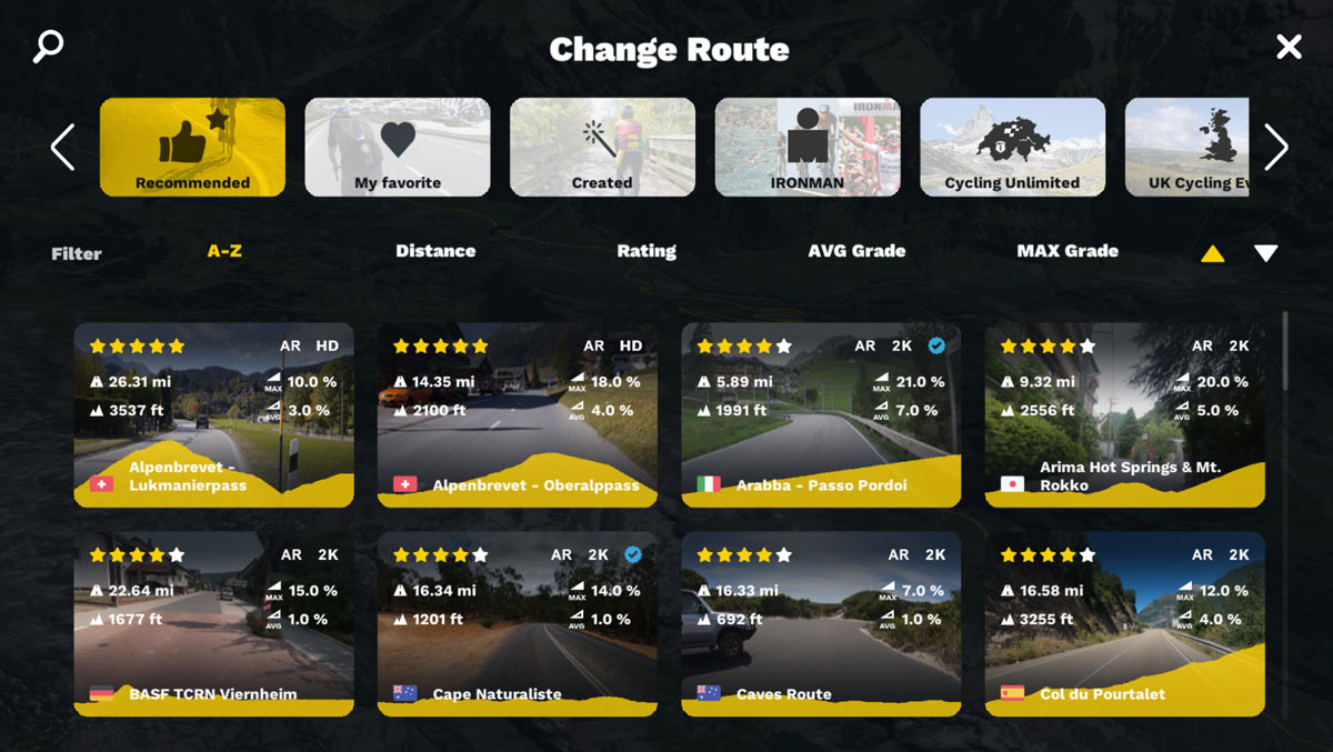 rouvy routes options screenshot