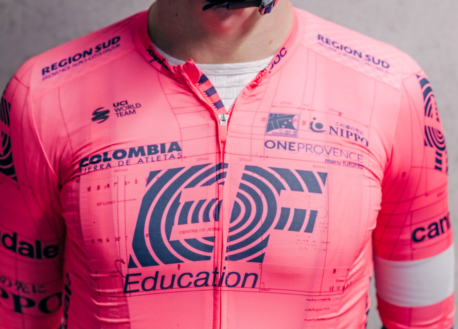 """Rapha EF Education-Nippo pro cycling road racing kit: """"world's most compliant jersey"""", front"""