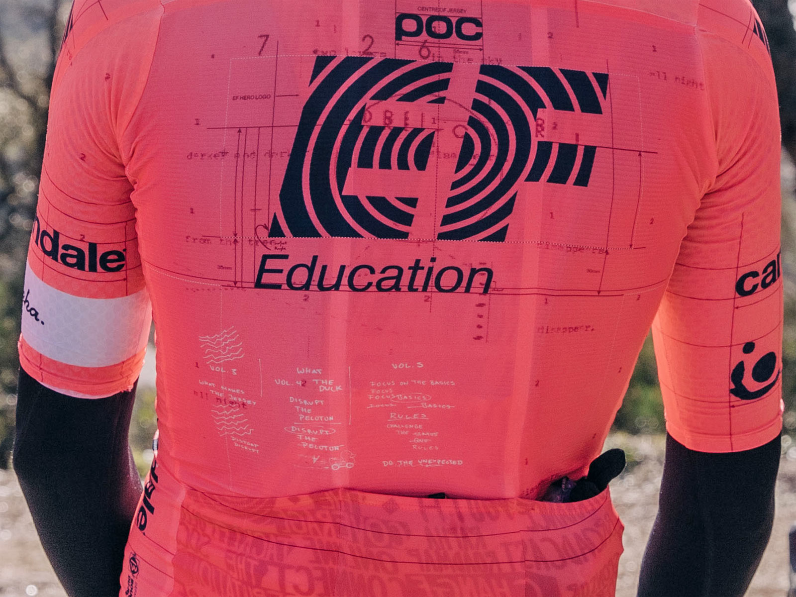 """Rapha EF Education-Nippo pro cycling road racing kit: """"world's most compliant jersey"""" back detail"""