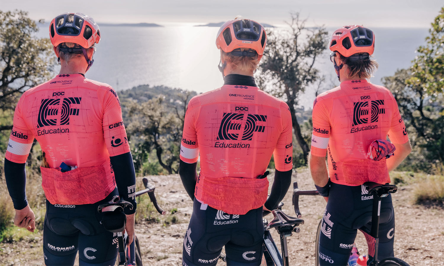 """Rapha EF Education-Nippo pro cycling road racing kit: """"world's most compliant jersey"""" back"""