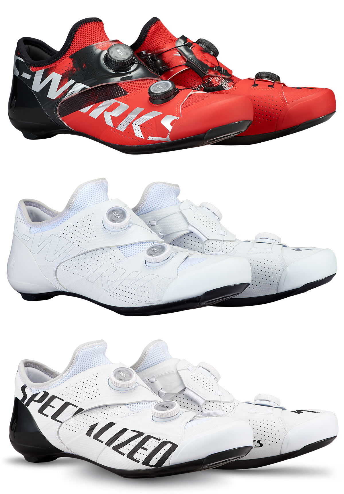 specialized ares s-works road bike shoes closeup features and colors