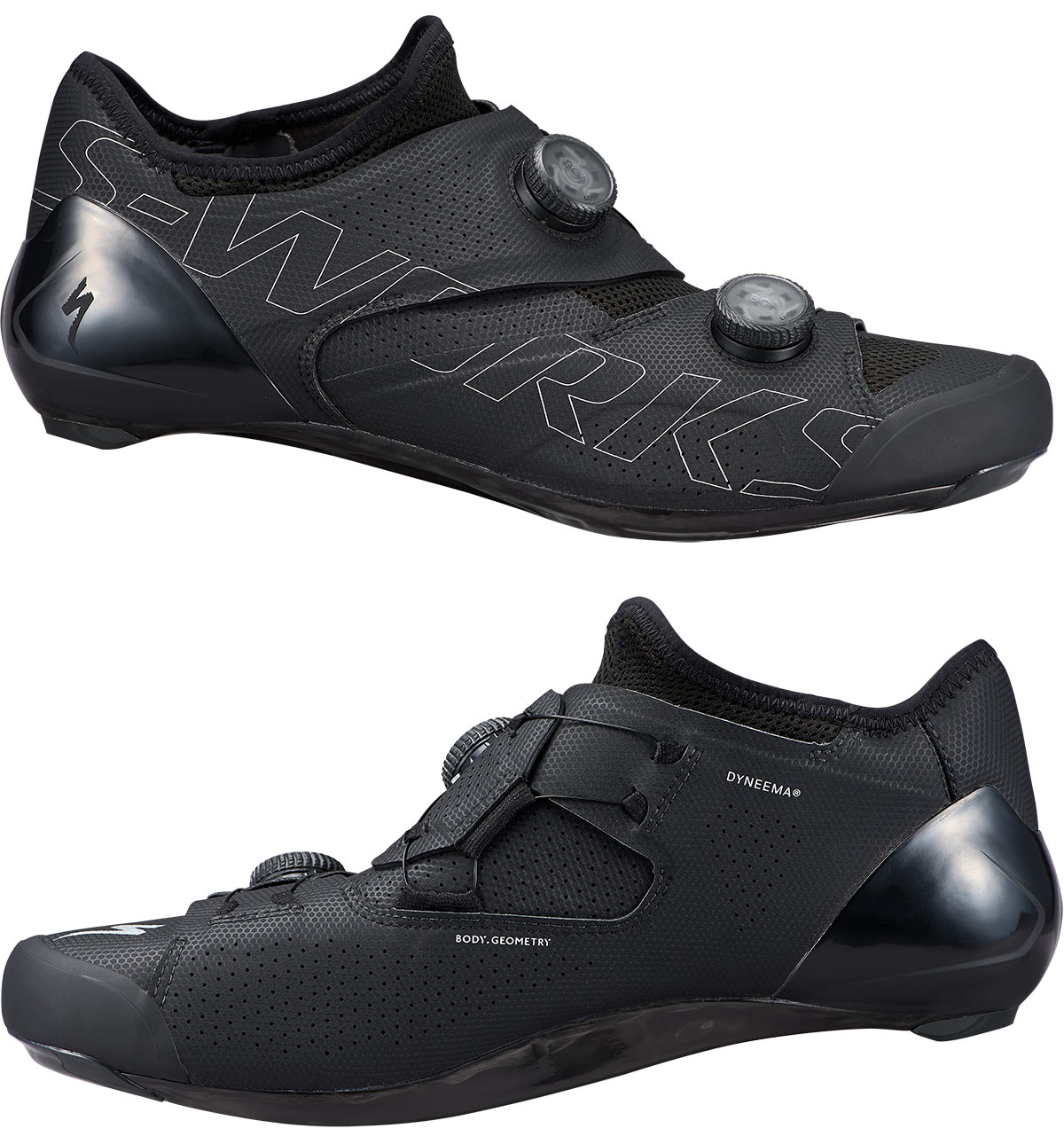 specialized ares s-works road bike shoes side profiles in black colorway
