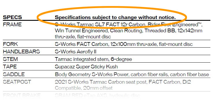 bicycle spec sheet showing possible changes to parts spec
