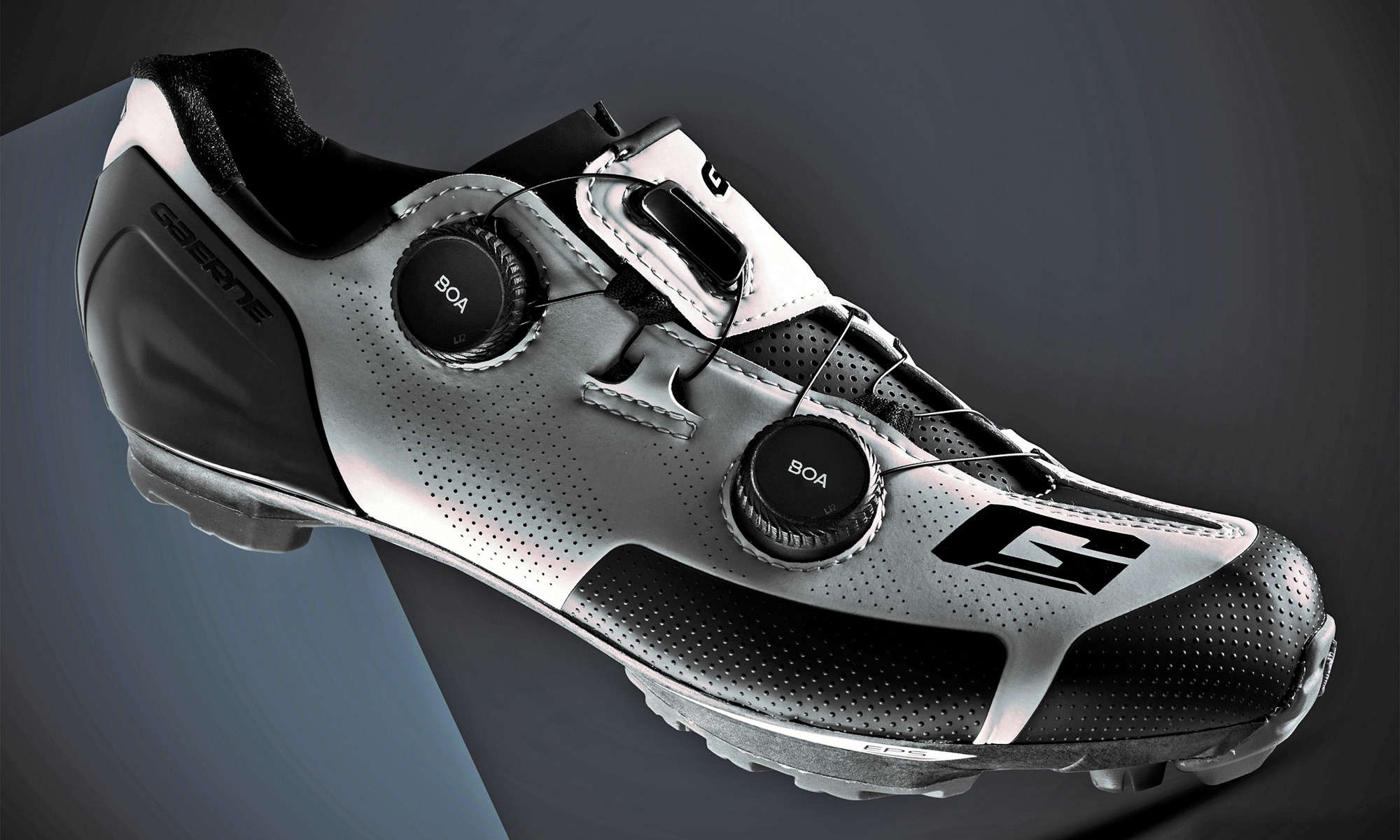 Gaerne G.SNX XC MTB shoes, top-tier race performance carbon cross-country mountain bike shoe, angled